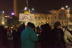 24 01 2018抗议在罗马尼亚 免版税库存图片