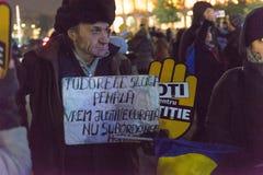 24 01 2018抗议在罗马尼亚 图库摄影