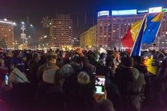 24 01 2018抗议在罗马尼亚 免版税图库摄影