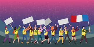 抗议在街道上的人,概念性传染媒介例证 向量例证