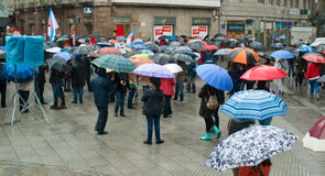 抗议在西班牙 免版税库存图片