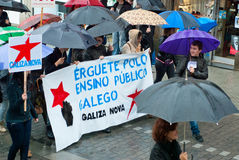 抗议在西班牙 库存照片