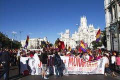 抗议在马德里 库存图片