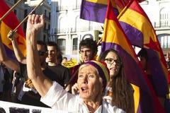抗议在马德里 免版税图库摄影
