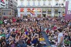 抗议在马德里 免版税库存图片
