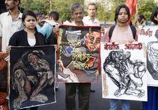 抗议性别暴力 库存图片