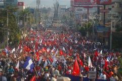 抗议游行agaist胡安奥兰多埃尔南德斯第1月12日2018 21 免版税库存照片