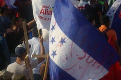抗议游行agaist胡安奥兰多埃尔南德斯第1月12日2018 18 免版税库存图片