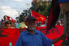 抗议游行agaist胡安奥兰多埃尔南德斯第1月12日2018 12 免版税库存图片