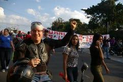 抗议游行agaist胡安奥兰多埃尔南德斯第1月12日2018 11 库存照片
