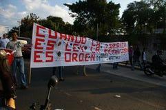 抗议游行agaist胡安奥兰多埃尔南德斯第1月12日2018 10 免版税库存图片