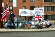 抗议的入侵俄语 库存照片