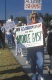 抗议的美国人战争在中东,洛杉矶,加利福尼亚 免版税库存图片