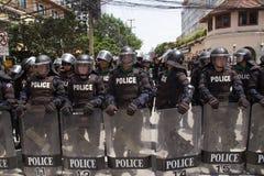 抗议者会集了在泰国和欧盟之间的FTA交涉 免版税图库摄影