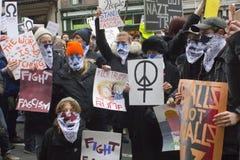 抗议者在唐纳德・川普` s就职典礼外面2017年 库存图片