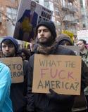 抗议者在唐纳德・川普` s就职典礼外面2017年 免版税库存照片