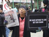 抗议者在唐纳德・川普` s就职典礼外面2017年 免版税图库摄影