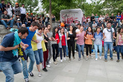 抗议者在土耳其在2013年6月 库存照片