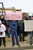 抗议者在布加勒斯特 免版税库存图片
