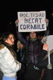 抗议者在布加勒斯特 免版税库存照片