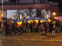 抗议者在布加勒斯特 库存图片