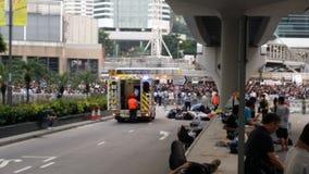 抗议者在政府机关附近的哈考特路占领Admirlty 2014年香港抗议革命占领中央的伞 图库摄影