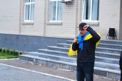 抗议行动的ATO战士2017年10月2日在乌克兰 库存照片