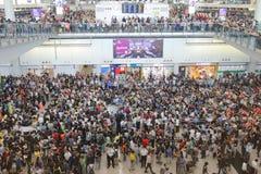 抗议首席执行官行李事件在香港机场 免版税库存图片