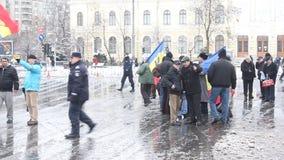 抗议-小组革命家在布加勒斯特 股票视频