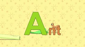 抗酸剂 英国动物园字母表-在A上写字 皇族释放例证