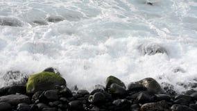 折叠下来在海滩的小卵石的波浪 股票视频