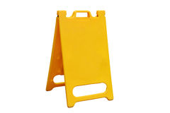折叠在路的一个信号空白黄色  库存照片