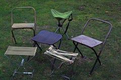 折叠的旅游椅子 库存照片