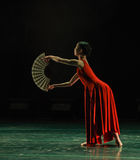 折叠的爱好者现代舞蹈 免版税图库摄影