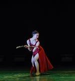 折叠的爱好者现代舞蹈 库存照片