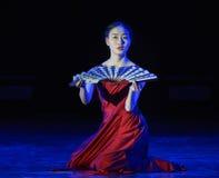 折叠的爱好者现代舞蹈 图库摄影