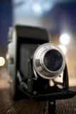 折叠的老photocamera 免版税库存照片