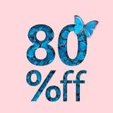 80%折扣推销活动 时髦的海报,横幅,广告的概念 库存照片