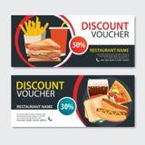 折扣证件快餐模板设计 套薄饼, sandwi 库存例证