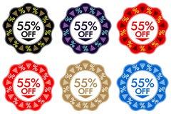 55折扣贴纸 套与55的横幅设计  皇族释放例证