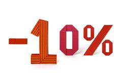 折扣销售Origami文本10% 免版税库存照片