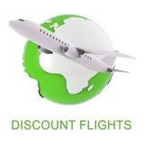 折扣飞行展示飞行航空公司和空气3d翻译 免版税库存图片