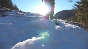 抚养的年轻远足者爬上在多雪的倾斜的后面观点在晴天 走在雪山的无法认出的人 股票视频