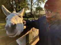 抚摸一头白色驴,清早光的妇女 免版税库存图片