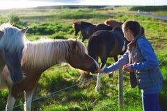 抚摸马的妇女 图库摄影