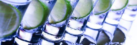 抛光 与酒精鸡尾酒的很多玻璃 图库摄影