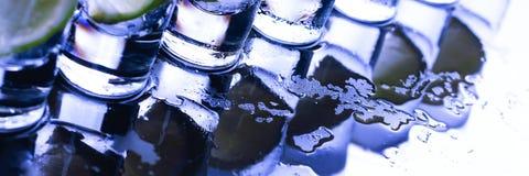抛光 与酒精鸡尾酒的很多玻璃 免版税库存照片