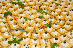 抛光 快餐、手抓食物(饼干,薄脆饼干)用软的凝乳酪,橄榄和草本在一个大盛肉盘 免版税库存图片