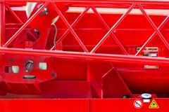 抢救消防卡车细节  一辆消防车的身体在s的 免版税库存照片