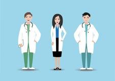 医护人员在医院 有文件夹和听诊器的被隔绝的医生在蓝色背景 诊所职员 免版税库存图片